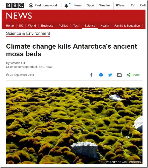 Climate change kills Antarctica's ancient moss beds - BBC News