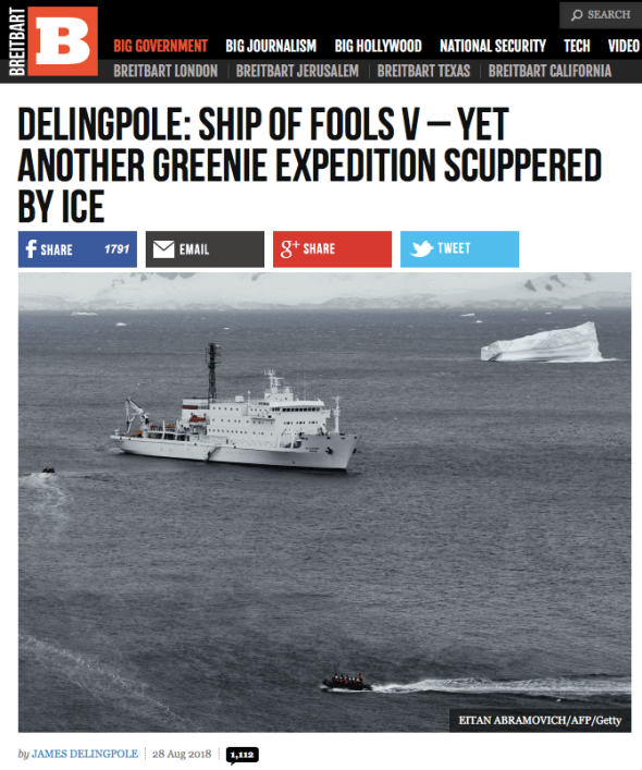 Delingpole - Ship of Fools V - Yet Another Greenie Expedition Scuppered by Ice | Breitbart