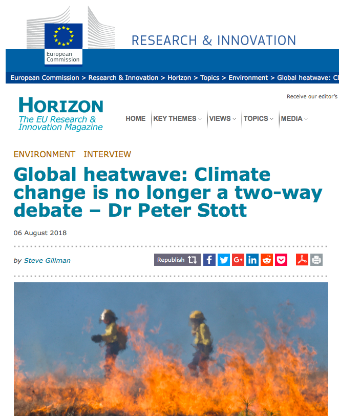 Global heatwave - Climate change is no longer a two-way debate – Dr Peter Stott | Horizon - the EU Research & Innovation magazine | European Commission