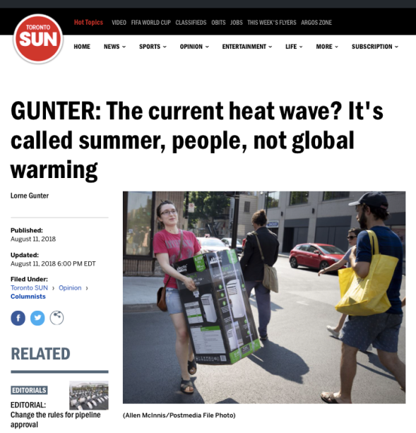 GUNTER - The current heat wave? It_s summer not global warming | Toronto Sun