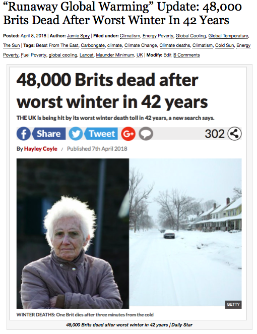 """Runaway Global Warming"" Update: 48,000 Brits Dead After Worst Winter In 42 Years 
