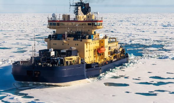 The Swedish icebreaker Oden on its way to the North Pole in August 2018. (Photo- Alfred-Wegener-Institut : Mario Hoppmann, meereisportal.de)