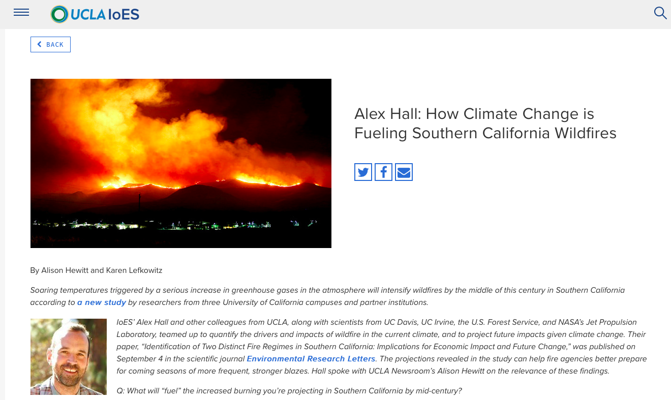 Alex Hall - How Climate Change is Fueling Southern California Wildfires | Institute of the Environment and Sustainability at UCLA