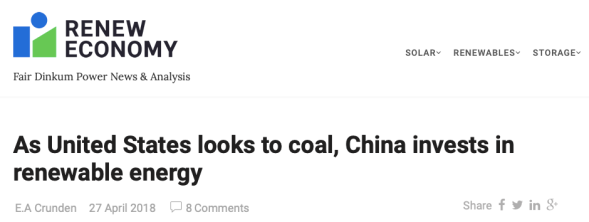 As United States looks to coal, China invests in renewable energy | RenewEconomy