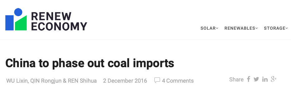 China to phase out coal imports | RenewEconomy