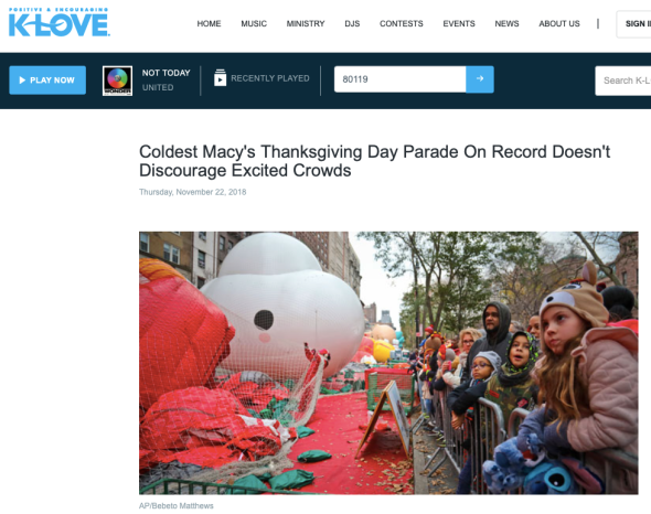 Coldest Macy's Thanksgiving Day Parade On Record Doesn't Discourage Excited Crowds - Positive & Encouraging K-LOVE