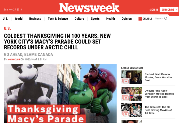 Coldest Thanksgiving In 100 Years - New York City's Macy_s Parade Could Set Records Under Arctic Chill