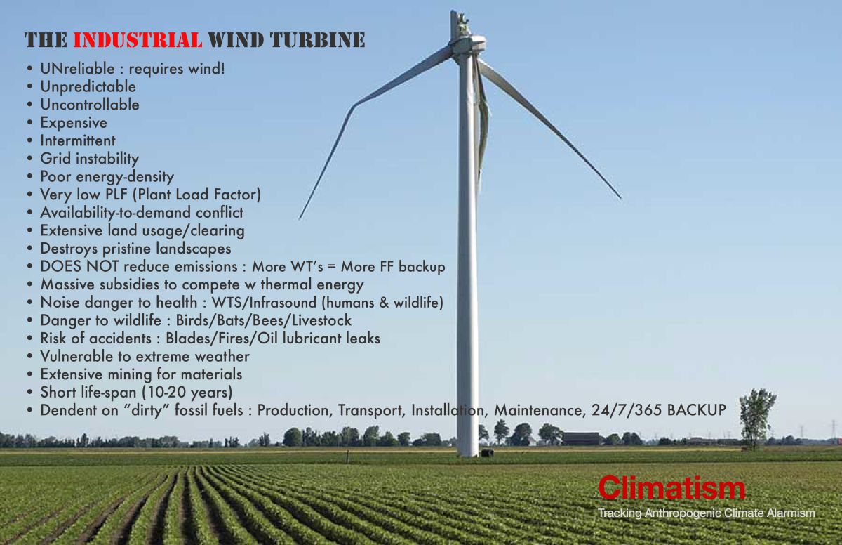 NOTE TO POLICY MAKERS : 41 Reasons Why Wind 'Power' Can Not Replace Fossil Fuels