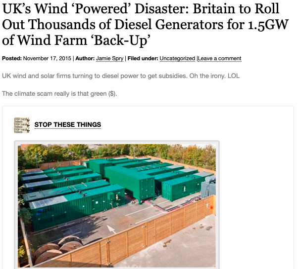 UK_s Wind 'Powered_ Disaster - Britain to Roll Out Thousands of Diesel Generators for 1.5GW of Wind Farm 'Back-Up_ | Climatism