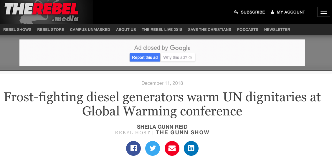 Frost-fighting diesel generators warm UN dignitaries at Global Warming conference - The Rebel
