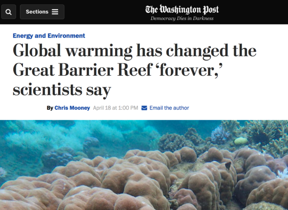 Global warming has changed the Great Barrier Reef 'forever,_ scientists say | The Washington Post