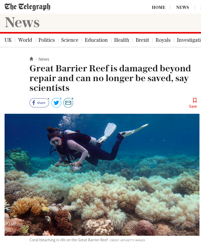 Great Barrier Reef is damaged beyond repair and can no longer be saved, say scientists