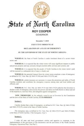 NC EXEC ORDER - STATE OF EMERGENCY - WINTER STORM