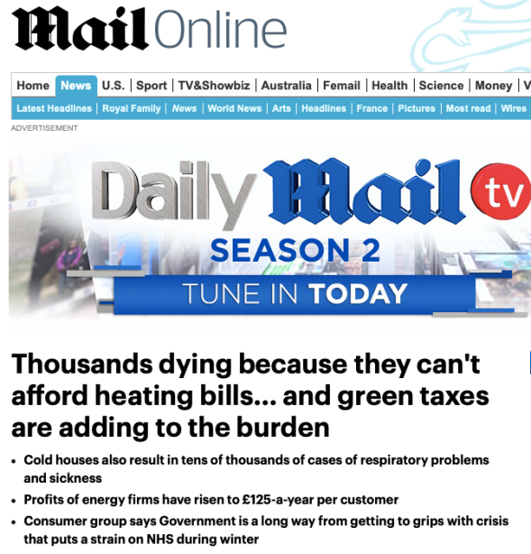 Thousands dying because they can't afford heating bills | Daily Mail Online