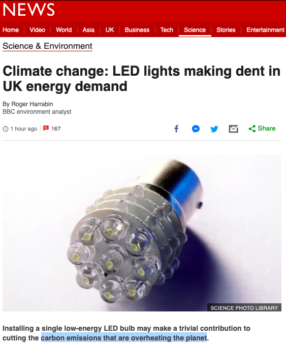 Climate change - LED lights making dent in UK energy demand - BBC News