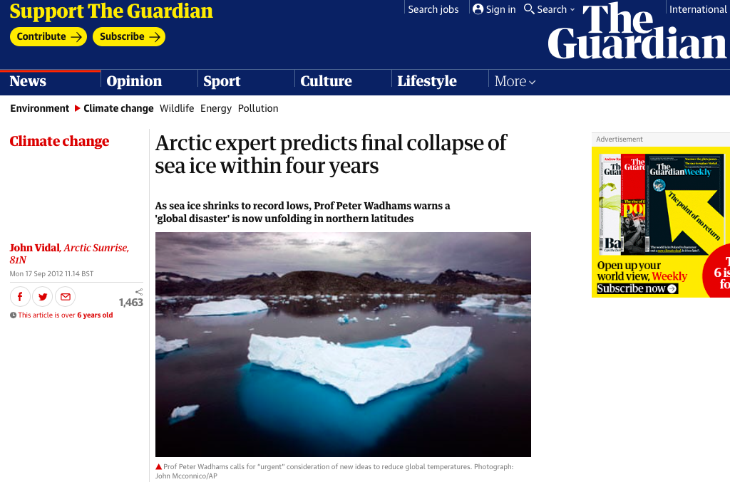arctic expert predicts final collapse of sea ice within four years | environment | the guardian