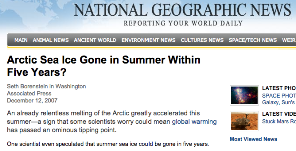 arctic sea ice gone in summer within five years?