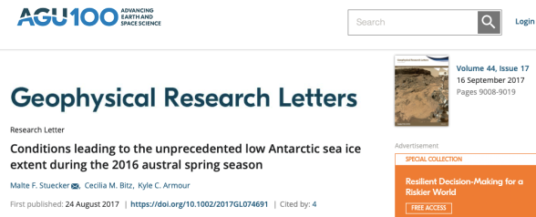 conditions leading to the unprecedented low antarctic sea ice extent during the 2016 austral spring season - stuecker - 2017 - geophysical research letters - wiley online library