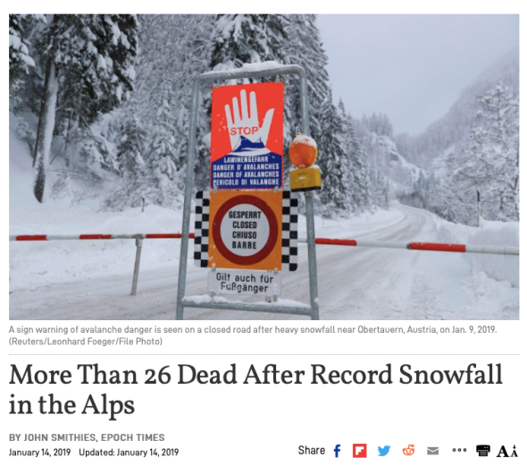 more than 26 dead after record snowfall in the alps | epoch times
