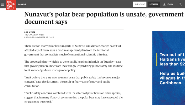 nunavut_s polar bear population is unsafe, government document says - the globe and mail