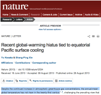 Recent global-warming hiatus tied to equatorial Pacific surface cooling - Nature - Nature Publishing Group