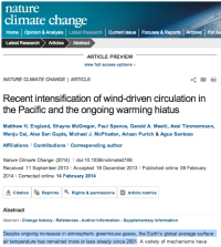 Recent intensification of wind-driven circulation in the Pacific and the ongoing warming hiatus : Nature Climate Change : Nature Publishing Group
