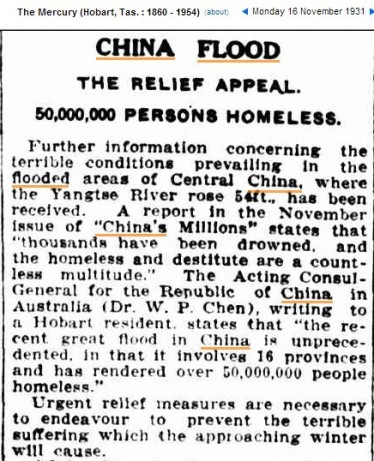 16 Nov 1931 – CHINA FLOOD THE RELIEF APPEAL. 50,000,000 PERSONS HOMELESS