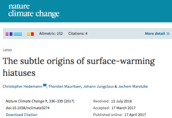 The subtle origins of surface-warming hiatuses | Nature Climate Change