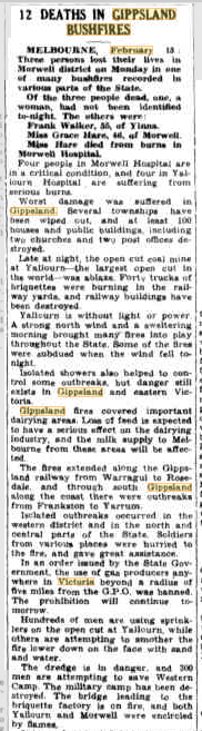 16 Feb 1944 - 12 DEATHS IN GIPPSLAND BUSHFIRES - Trove