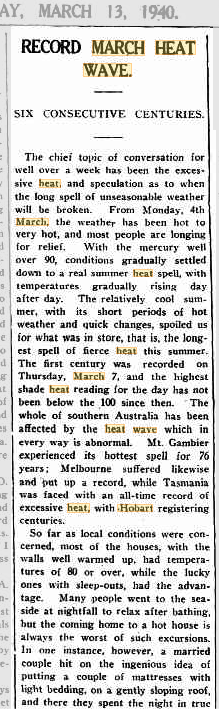 13 Mar 1940 – RECORD MARCH HEAT WAVE. SIX CONSECUTIVE CENTURIES. – Trove