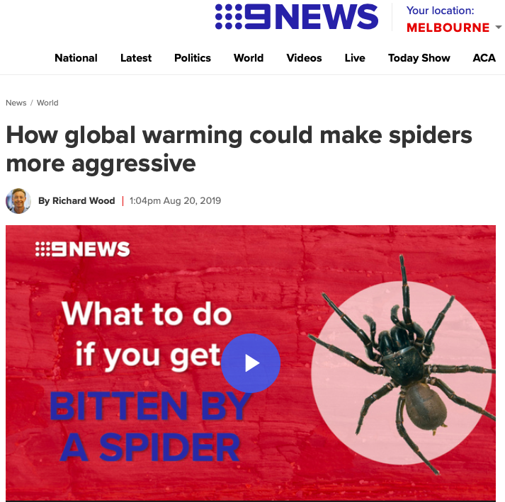 World news - Aggressive spiders flourish in hurricanes scientists | 9News