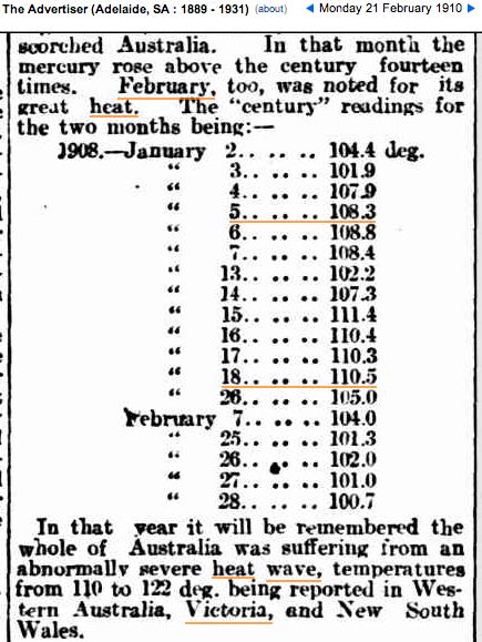21 Feb 1910 – INTENSE HEAT AVERAGE FOR 8 DAYS, 101.5 DEGREES. …