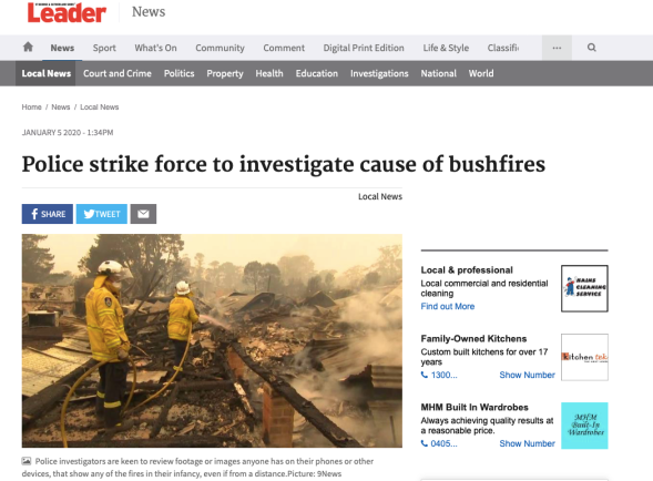 Police strike force to investigate cause of bushfires | St George & Sutherland Shire Leader