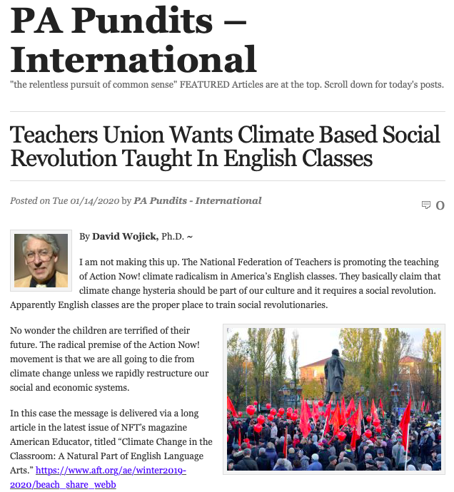 Teachers Union Wants Climate Based Social Revolution Taught In English Classes | PA Pundits - International.png