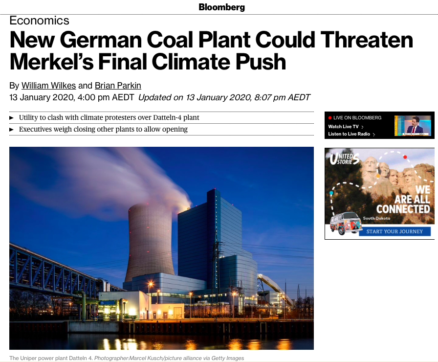 New German Coal Plant Could Threaten Merkel's Final Climate Push - Bloomberg
